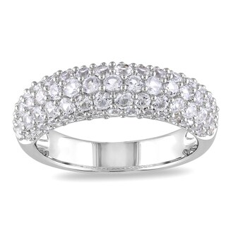 Miadora Sterling Silver Round-cut White Sapphire Ring