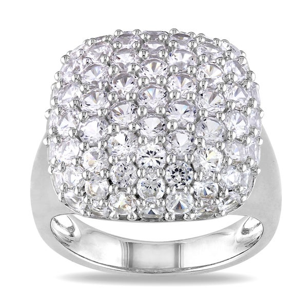 Miadora Sterling Silver Created White Sapphire Cocktail Cluster Ring