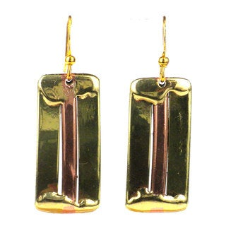 Handmade Brass and Copper Architecture Earrings (South Africa)