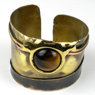 Handcrafted Gold Tiger Eye Statement Cuff (South Africa)