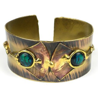 Handcrafted Paua Shell and Brass Ocean Cuff (South Africa)