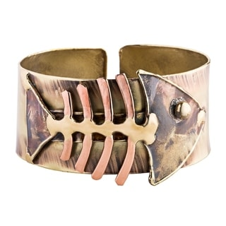 Handcrafted Fishbone Brass Cuff (South Africa)