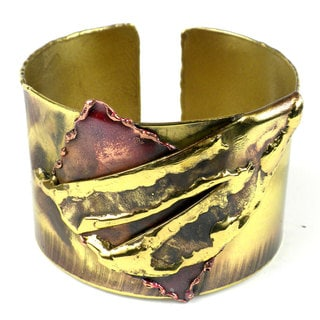 Handmade Layered Leaf Copper and Brass Cuff (South Africa)