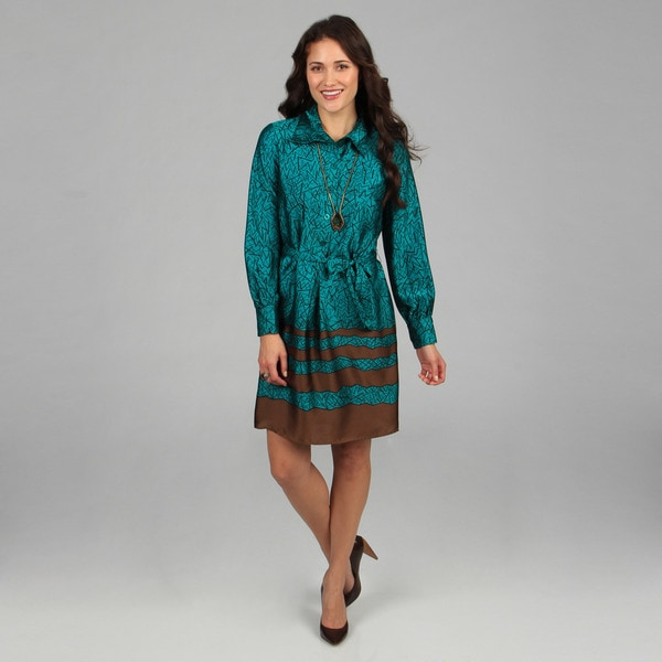 CeCe's New York Brown and Turquoise Tie-front Printed Shirt Dress
