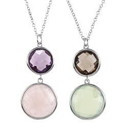 La Preciosa Sterling Silver Double Gemstone 20-inch Necklace