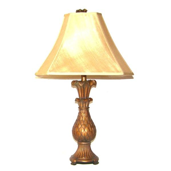 Aged Walnut Pineapple Traditional 1-Light Table Lamp