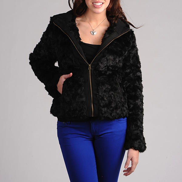 CoffeeShop Juniors Black Faux Fur Zip-up Jacket