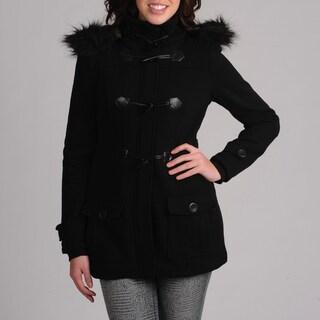 Mo-Ka Black Fleece Women's Toggle Coat