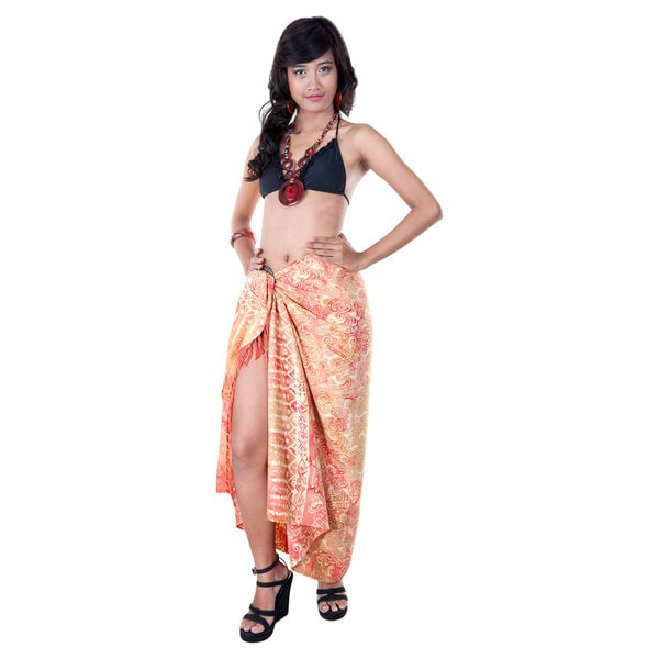 Premium Red Heavyweight Abstract Sarong (Indonesia)