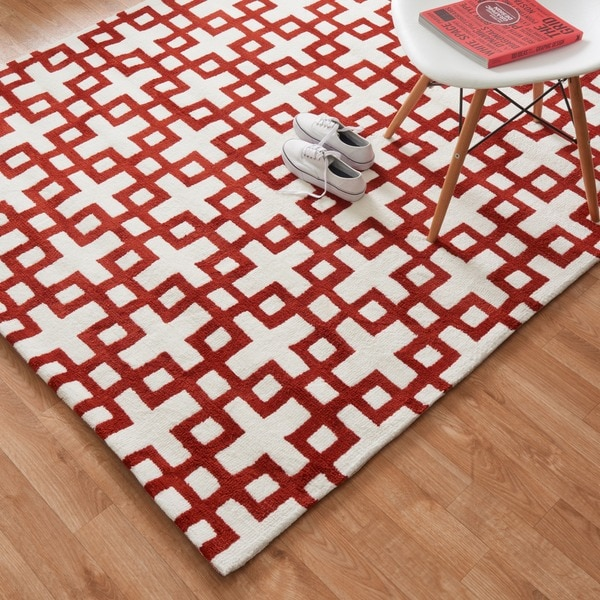 Microfiber Woven Harlow Ivory/ Rust Rug (5' x 7'6)