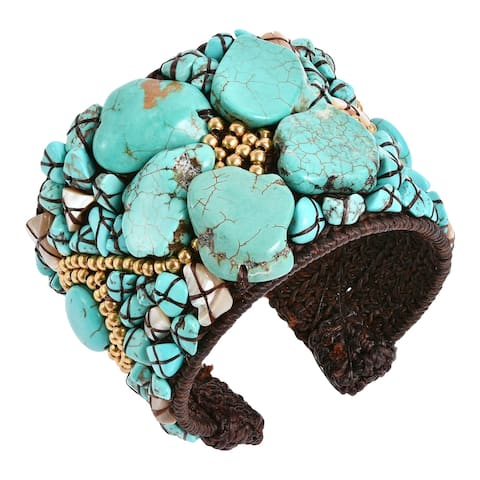 Handmade Turquoise Slab Abstract Floral Statement Beaded Cuff Bracelet (Thailand)
