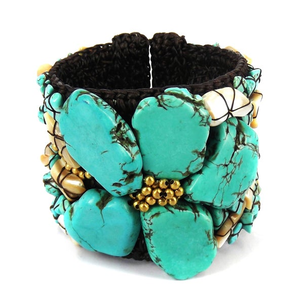 Handmade Turquoise Slab Abstract Floral Statement Beaded Cuff (Thailand)