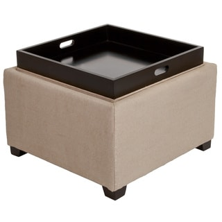 Andrea Light Tan Fabric Tray Top Storage Ottoman by Christopher Knight Home