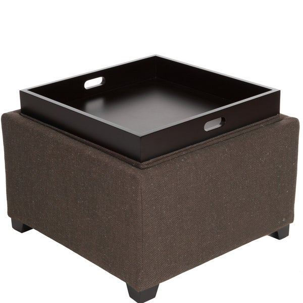 Wellington Brown Fabric Tray Top Ottoman by Christopher Knight Home