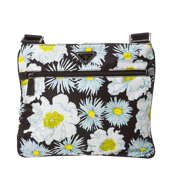Prada Women's White and Black Floral Crossbody Bag