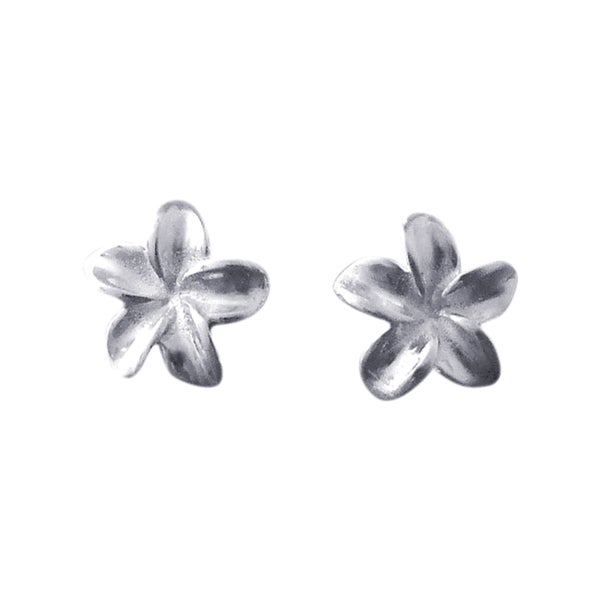 Handmade Silver Hawaiian Plumeria Flower Post Earrings (Thailand)