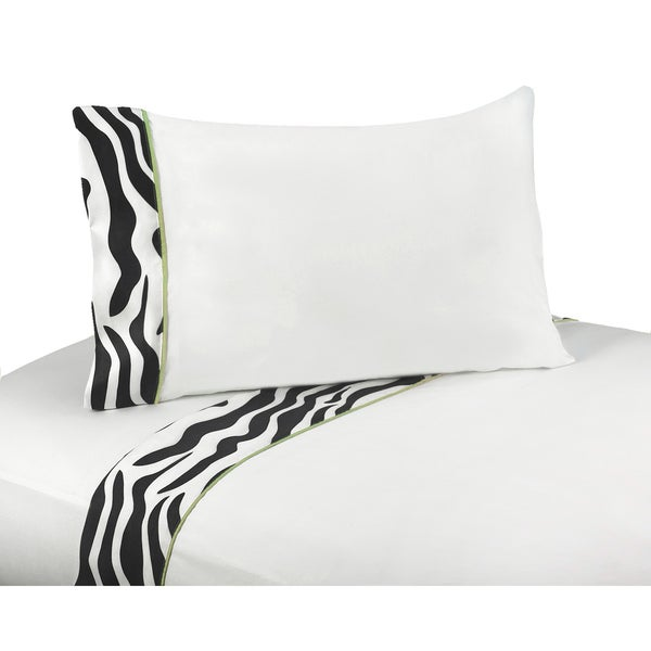 JoJo Designs Funky Zebra Lime Green Trim 200 Thread Count Cotton Sheet Set