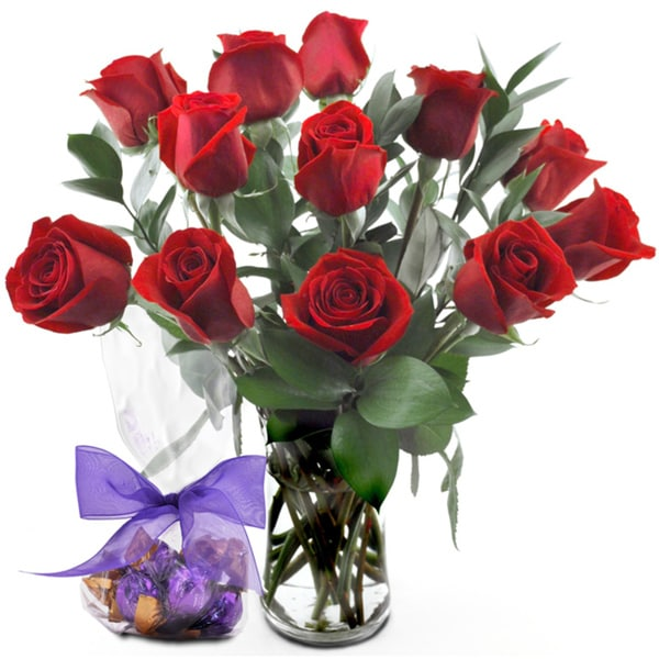 (Valentine's Day Pre-Order) One-dozen Red Roses with Vase
