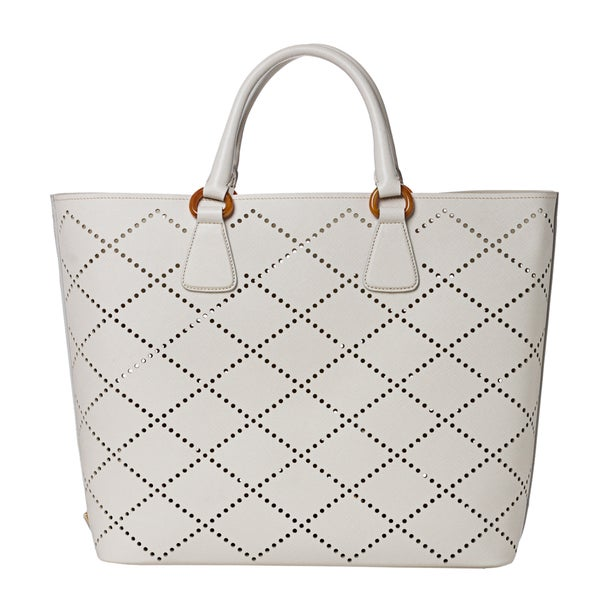 ba7648ebd53 ... aliexpress prada womenx27s white perforated saffiano leather large tote  bag dd5d8 5802f
