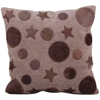 Mina Victory Natural Leather and Hide Moon and Stars Lilac Throw Pillow (20-inch x 20-inch) by Nourison