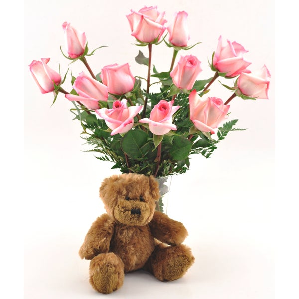 (Valentine's Day Pre-Order) One Dozen Pink Roses with Teddy Bear and Vase
