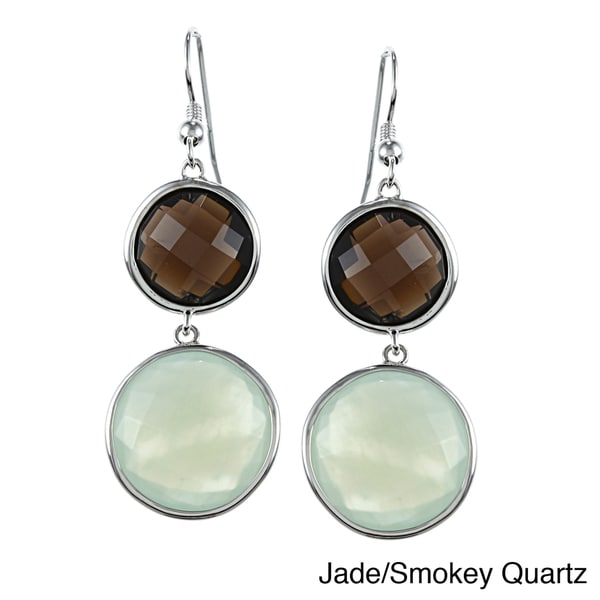 La Preciosa Sterling Silver Double Gemstone Earrings