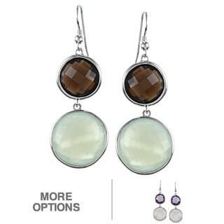 La Preciosa Sterling Silver Double Gemstone Earrings
