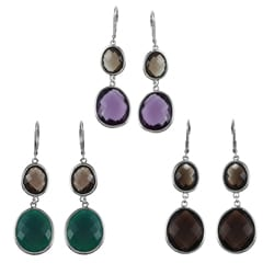 La Preciosa Sterling Silver Graduated Gemstone Dangle Earrings