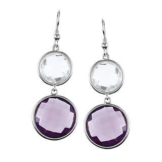 La Preciosa Sterling Silver Amethyst and White Quartz Earrings|https://ak1.ostkcdn.com/images/products/7654852/7654852/La-Preciosa-Sterling-Silver-Amethyst-and-White-Quartz-Earrings-P15069397.jpg?impolicy=medium