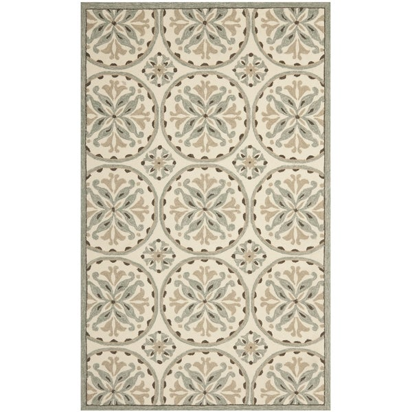 Safavieh Hand-Hooked Four Seasons Green/ Brown Polyester Rug - 8' x 10'