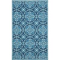 Safavieh Hand-Hooked Four Seasons Blue Polyester Rug - 3'6 x 5'6