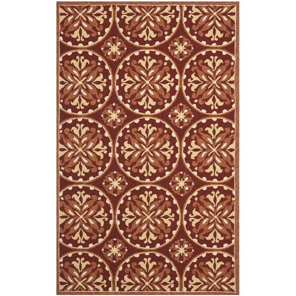 Safavieh Hand-Hooked Four Seasons Red/ Orange Polyester Rug - 8' x 10'
