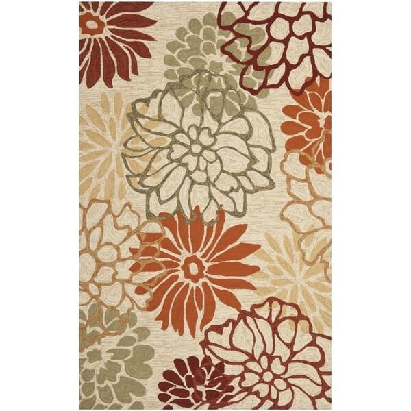 Safavieh Four Seasons Stain-Resistant Hand-Hooked Floral Beige Rug (5' x 8')