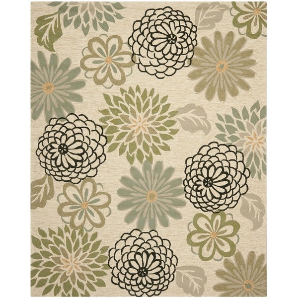 Safavieh Hand-Hooked Four Seasons Beige/ Green Rug (8' x 10')