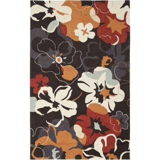 """Safavieh Four Seasons Stain-Resistant Hand-Hooked Floral Black Rug (3' 6"""" x 5' 6"""")"""