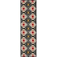 Safavieh Hand-Hooked Four Seasons Black/ Ivory Polyester Rug - 2'3 x 8'