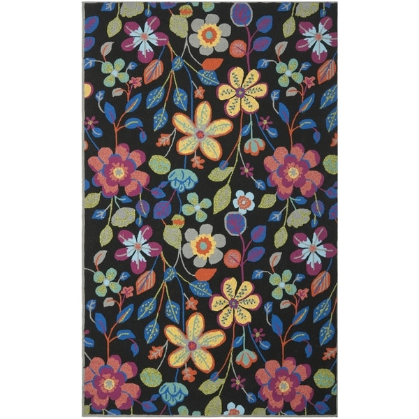Safavieh Hand-Hooked Four Seasons Black/ Multicolored Polyester Rug (5' x 8')