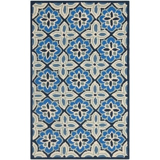 Safavieh Four Seasons Stain Resistant Hand-hooked Blue Rug (2'6 x 4')