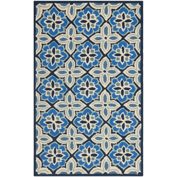Safavieh Hand-Hooked Four Seasons Blue Polyester Rug (2'6 x 4')