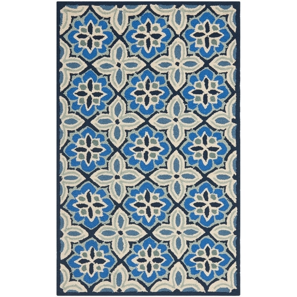 Safavieh Hand-Hooked Four Seasons Blue Polyester Rug - 2'6 x 4'
