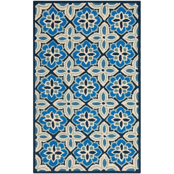 "Safavieh Hand-Hooked Four Seasons Blue Polyester Rug - 2'-6"" x 4'"