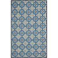 Safavieh Hand-Hooked Four Seasons Blue Polyester Rug - 5' x 8'