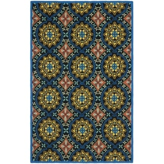 Safavieh Hand-Hooked Four Seasons Black/ Blue Polyester Rug (5' x 8')