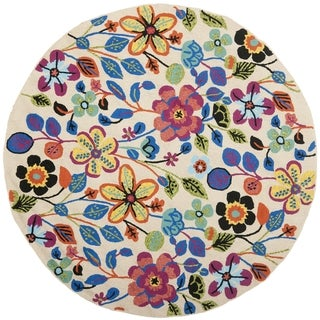 Safavieh Hand-Hooked Four Seasons Colorful Floral Ivory Polyester Rug - 4' x 4' Round