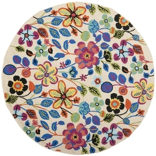 Safavieh Hand-Hooked Four Seasons Colorful Floral Ivory Polyester Rug (6' Round)