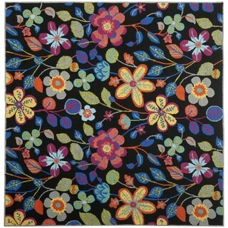 Safavieh Four Seasons Stain-Resistant Floral-Print Hand-Hooked Black Rug (6' Square)