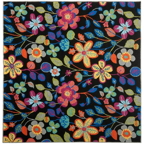 Safavieh Hand-Hooked Four Seasons Black/ Multicolored Polyester Rug - 6' x 6' Square