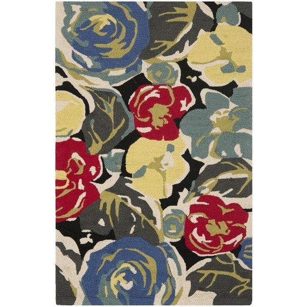 """Safavieh Hand-Hooked Four Seasons Black/ Multicolored Floral Rug (2'6"""" x 4') - 2'6 x 4'"""