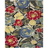 Safavieh Hand-Hooked Four Seasons Black/ Multicolored Floral Rug - 8' x 10'
