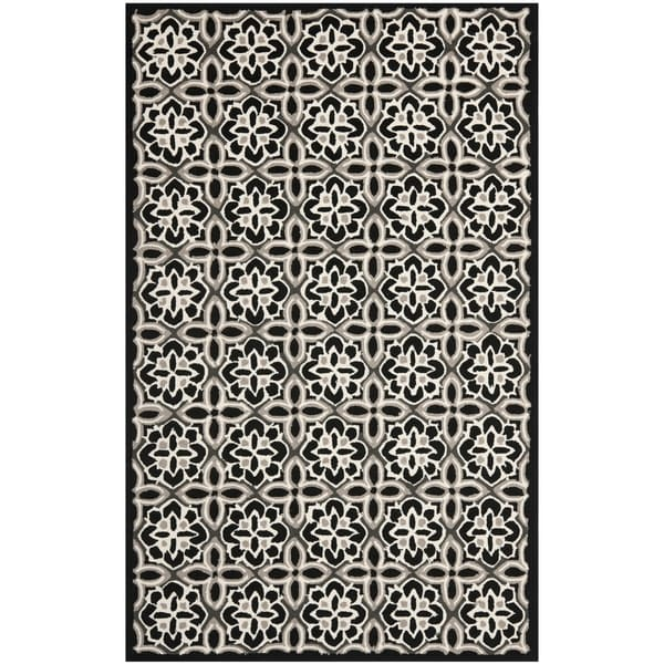 Safavieh Hand-Hooked Four Seasons Black/ Ivory Polyester Rug (8' x 10')
